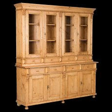 Large Reproduction Pine Breakfront Bookcase From Hungary