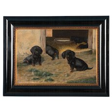 Antique Oil on Canvas Painting of Dachshund Puppies by Simon Simundson