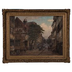 Antique Oil on Canvas Painting, Old Hamburg Street Scene, Signed Friedrich Harden