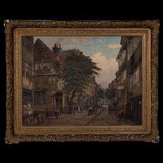 Antique Oil on Canvas Painting, Old Hamburg Street Scene, Signed Friedrich Harden