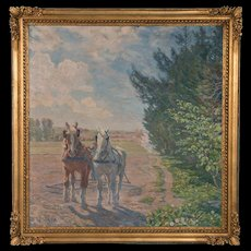 Large Oil on Canvas Painting of Plow Horses, Signed Borge Nyrop
