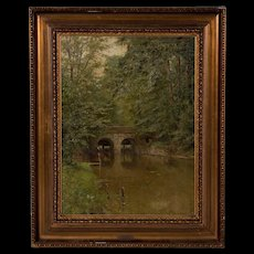 Oil Landscape Painting of Horse and Rider in River, by Karl Martin Soya-Jensen