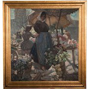 Vintage Oil Painting on Canvas of a Danish Flower Vendor by Carl Forup