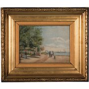 Antique Oil Painting on Canvas, Family at the Beach