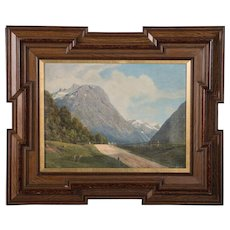 Antique Oil on Canvas Painting of a Norwegian Landscape, Signed Georg E Libart