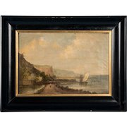 Antique English Oil on Canvas Painting, Cliffs of Dover, Signed Alfred Vickers