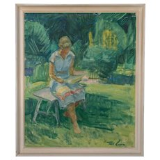 Vintage Oil Painting of a Girl Reading on a Bench by Robert Leepin