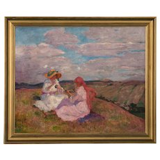 Antique Oil LandscapePainting of Two Girls on Hilltop, signed Valerie Telkessy