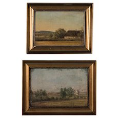 Pair of Antique Danish Oil on Board Landscape Paintings