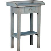 Small Antique Blue Painted Country Side Table