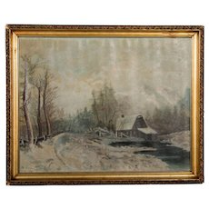 Antique Winter Landscape Oil on Canvas Painting