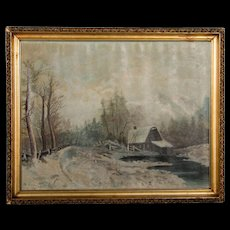 Antique Winter Landscape Oil on Canvas Painting