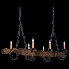 Six Light Chandelier Made From Vintage Ox Yoke