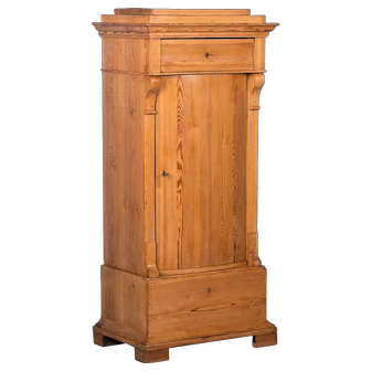 Antique Country Bow Front Pine Cabinet