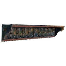 Antique Folk Art Painted Hanging Shelf And Coat Rack