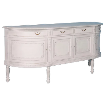 Antique Swedish Gustavian Sideboard With White Paint