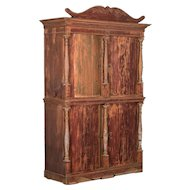 Antique Danish Pine Bow Front Cabinet / Armoire with Original Red Paint