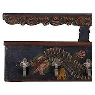 Long Hanging Antique Folk Art Painted Coat Rack