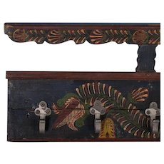 Long Hanging Antique Folk Art Painted Coat Rack
