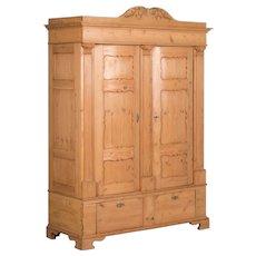 Antique Danish 2 Door Pine Armoire