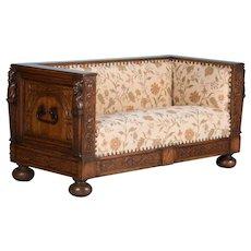 Antique Heavily Carved Antique Oak Sofa