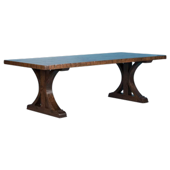 Maple Dining Table With Vintage Reclaimed Box Car Flooring