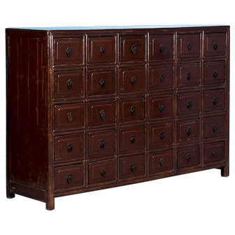 Antique Multi-Drawer Red Lacquered Apothecary Cabinet