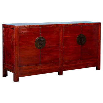 Antique Red Lacquered Chinese Sideboard Cabinet