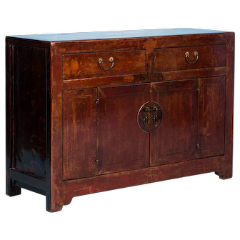 Antique Chinese Red Lacquered Sideboard