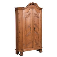 Carved Antique German Pine Armoire