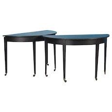 Pair of Black Painted Antique Swedish Demilune Tables