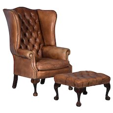 Vintage English Leather Wing Back Chair and Stool