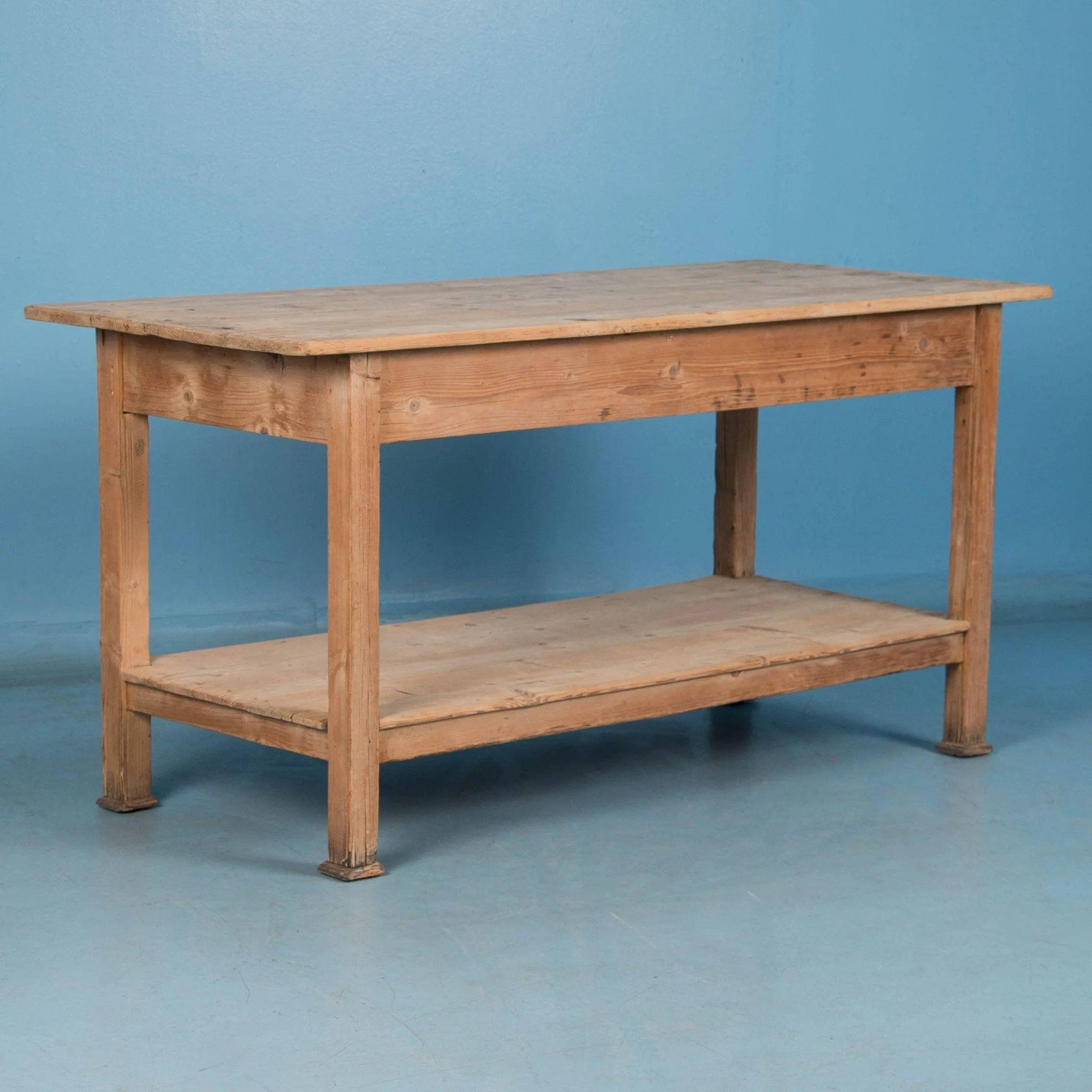 Antique Danish Pine Work Table or Kitchen Island : Scandinavian ...