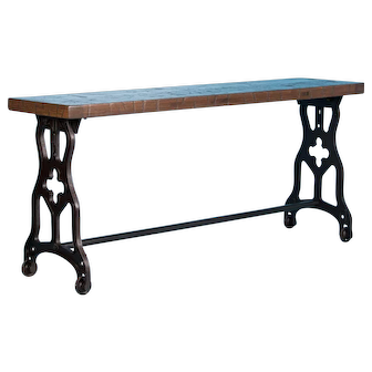 American Oak Console Table With Antique Industrial Cast Iron Legs