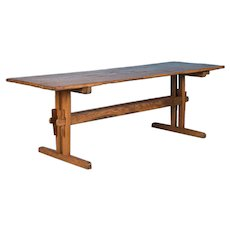 Antique Danish Pine Trestle Farm Table
