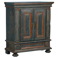 Original Blue Painted Swedish Cabinet With Decorative Panels