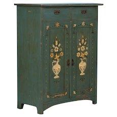 Original Painted Antique Folk Art Swedish Cabinet