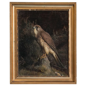 Original Antique Oil on Canvas Painting of a Falcon by Niels Rasmussen