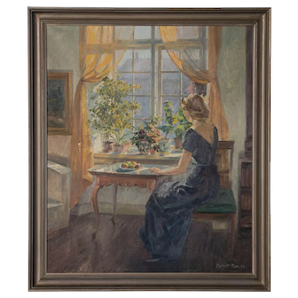 Original Oil on Canvas Painting of Woman Seated at Window, signed Robert Panitzsch