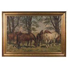 Antique Original Oil Painting of Horses Grazing, signed Carl Hertz