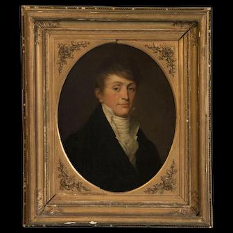 Antique Oil on Canvas Portrait of an 18th Century Gentleman