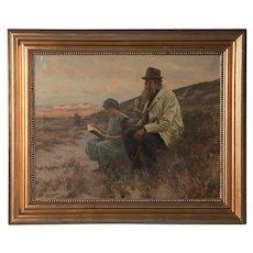 Antique Danish Oil on Canvas Painting by Erik Henningsen