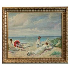 Antique Oil on Canvas Painting of Girls at the Beach