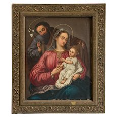 Antique Oil on Canvas Religious Painting of the Holy Family