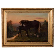 Antique Oil Painting Of a Horse / Mare & Her Foal, circa 1880