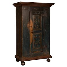 Antique Russian Single Door Armoire With Original Paint