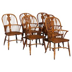 Set of 6 English Windsor Elm Armchairs