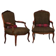 Pair of Hand Carved French Walnut Fautuils / Armchairs