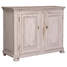 Antique French Oak Cabinet With White Paint