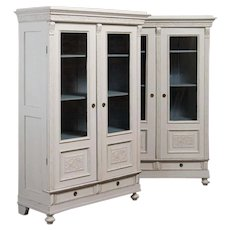 Pair of Antique Swedish Bookcases Painted White